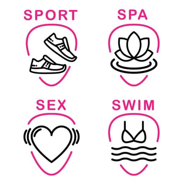 Abgebildet sind die 4 Beispiele für die der PINK Tampon verwendet werden kann: Schwimmen, Spa, Sport und Sex