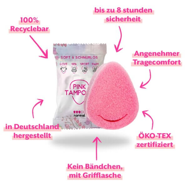 """Der PINK Tampon in Tropfenform mit der sich im Hintergrund befindenden Verpackung. Und dem Text herum: """"bis zu acht Stunden Sicherheit"""", """"Angenehmer Tragekomfort"""", """"ÖKO-Tex zertifiziert"""", """"Kein Bändchen, mit Grifflasche"""", """"In Deutschland hergestellt"""", """"100% Recyclebar"""""""