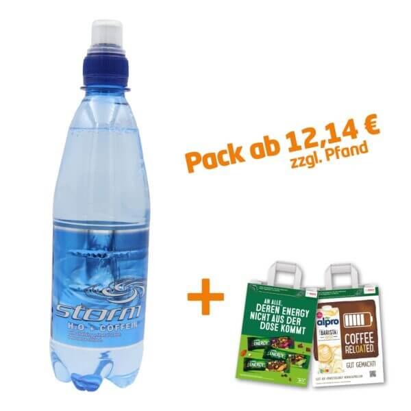 Abgebildet ist die blaue StormWater Wasserflasche mit H2O + Coffein und einem Trink-Cup Sicherheitsverschluss mit zwei CAMPUS-Tüten.
