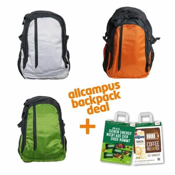 """Als """"allcampus backpack deal"""" der Rucksack Galaxy in orange, grün oder weiß mit der CAMPUS-Tüte Friends Edition."""
