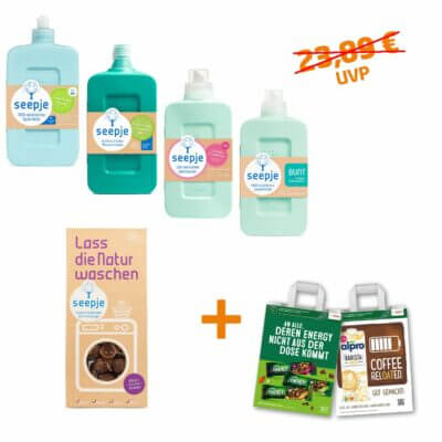 Das Seepje Hausmittelpaket mit dem Weichspüler, dem Flüssigwaschmittel, dem Allzweckreiniger, dem Spülmittel und den Waschnüssen. Dazu die CAMPUS-Tüte Home Friends Edition.