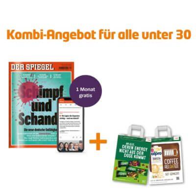 """Ein Kombi-Angebot für alle unter 30 für ein gratis Monat """"Der Spiegel"""". Mit zwei CAMPUS-Tüten."""